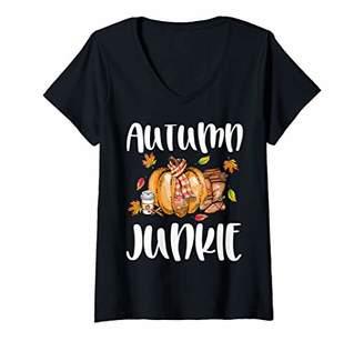Womens Autumn junkie pumpkin spice boots cute Fall autumn pumpkin V-Neck T-Shirt
