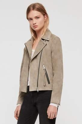 3795ff7af5b54 Next Womens AllSaints Khaki Dalby Suede Leather Biker Jacket