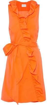Milly Neon Ruffled Cotton-Blend Poplin Wrap Mini Dress