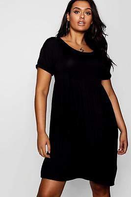 boohoo NEW Womens Plus Jersey Smock Dress in Viscose 5% Elastane
