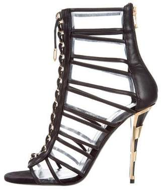 Balmain PVC Lace-Up Ankle Boots