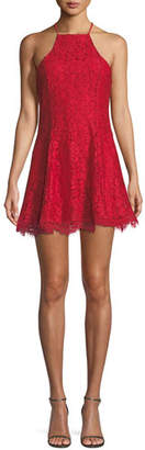 NBD Bria Lace Mini Dress w/ Swing Skirt
