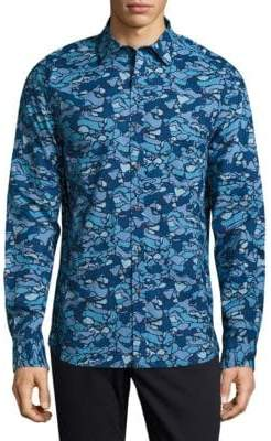 Michael Bastian Camo Cotton Button-Down Shirt