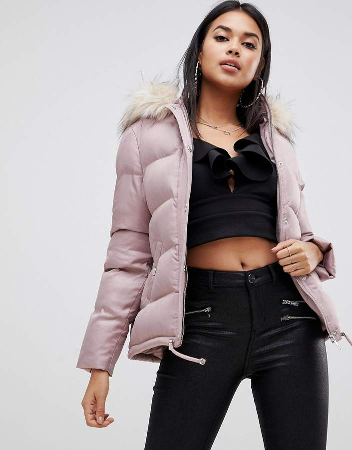 cropped puffer jacket with hood and faux fur trim in pink