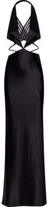 Alexander Wang Cutout Mesh-Paneled Satin Gown