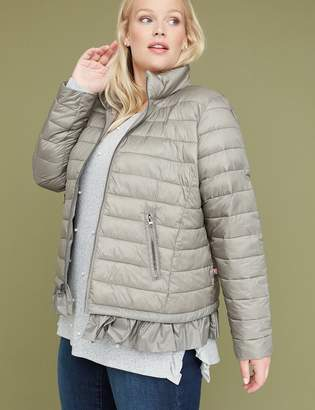Lane Bryant Peplum Packable Puffer Jacket with Thermoplume Technology - Sage Green