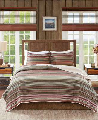 Woolrich Willard Full/Queen 3 Piece Oversized Stripe Print Cotton Reversible Quilt Set Bedding