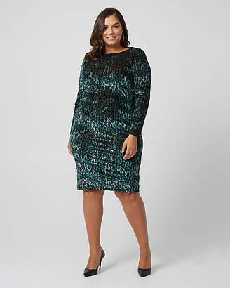 Le Château Leopard Print Knit Padded Shoulder Dress