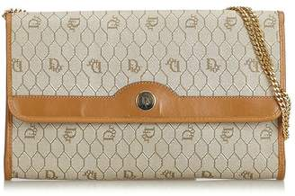 Christian Dior Vintage Honeycomb Coated Canvas Chain Crossbody Bag