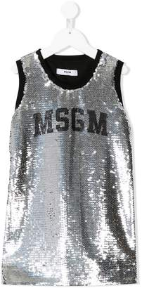 MSGM logo sequin embellished dress