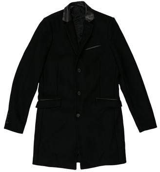The Kooples Leather-Accented Wool Coat