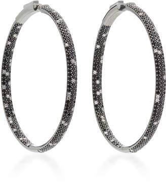 Nickho Rey Rhodium-Plated Stone Hoop Earrings