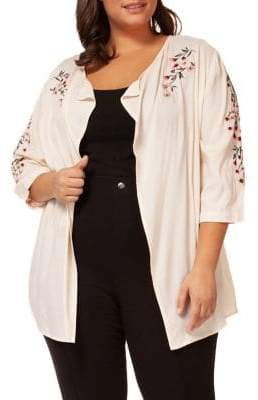 Dex Plus Embroidered Open-Front Jacket