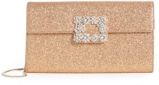 Roger Vivier Crystal Buckle Glitter Shoulder Bag