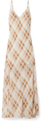 LoveShackFancy Kate Ruffled Plaid Silk-jacquard Maxi Dress - Ivory