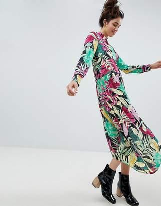 Monki Tropical Midi Shirt Dress