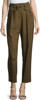 A.P.C. Isa High-Waist Tapered Pants, Khaki