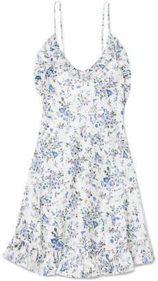 Les Rêveries - Ruffled Floral-print Silk-satin Mini Dress - White