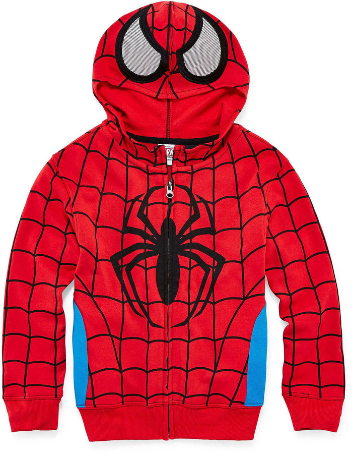 Novelty T-Shirts Spider-Man Zip-Front Hoodie - Preschool Boys 4-7