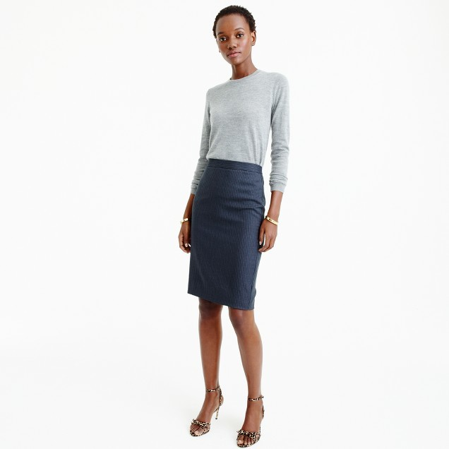 J.Crew Pencil skirt in pinstripe Super 120s wool