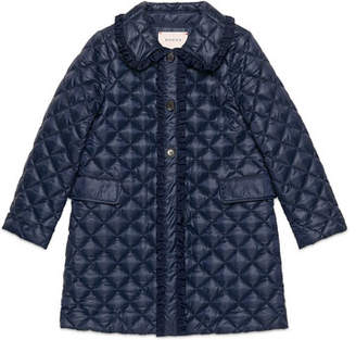 Gucci Quilted Long Ruffle-Trim Jacket, Royal Blue, Size 4-12