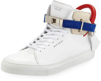 Buscemi Men's 100mm Leather Mid-Top Sneakers