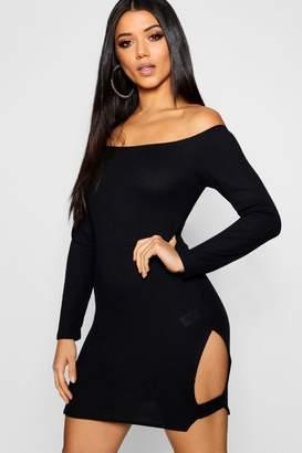 boohoo Long Sleeve Cut Out Rib Dress