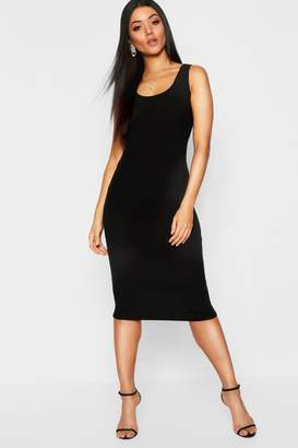 boohoo Rib Knit Scoop Neck Bodycon Dress