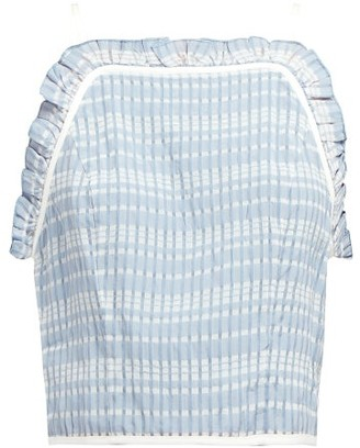 STAUD Pearl Checked Ruffled Crop Top - Womens - Light Blue