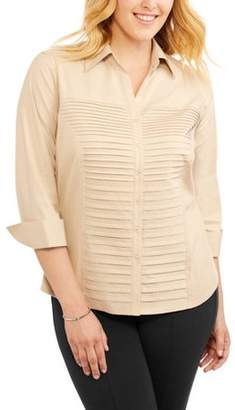 Lifestyle Attitude Women's Plus Woven Pleated Knit Top