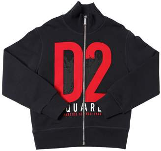 DSQUARED2 D2 Printed Zip-Up Cotton Sweatshirt