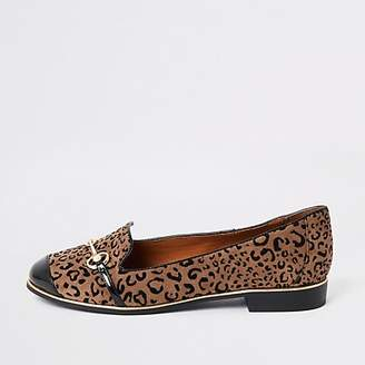 4f78eef7a River Island Brown leopard print wide fit loafers