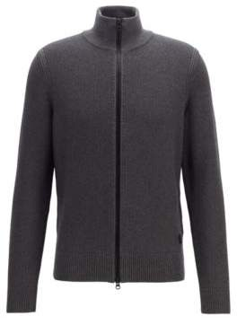 BOSS Hugo Knitted jacket in a structured cotton M Grey