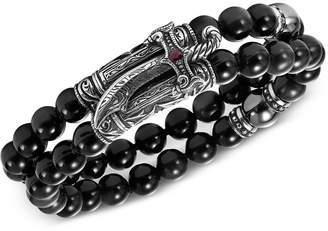 Scott Kay Men's Obsidian Bead (8mm), Hematite Bead (10mm) & Ruby (1/8 ct. t.w.) Bracelet in Sterling Silver