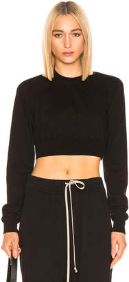Rick Owens Cropped Crewneck Sweater in Black | FWRD