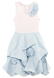Kate Mack - Biscotti Pink and Blue Flower Rouched Dress