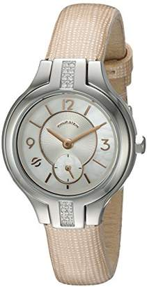 Philip Stein Teslar Womens Sport Diamond Bezel with Mother of Pearl dial and Accents on Star Woven Patent Strap