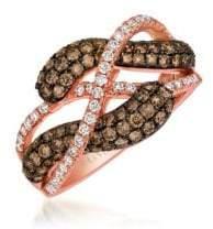 LeVian Chocolate Diamond, Vanilla Diamond and 14K Strawberry Gold Infinity Ring, 1.23 TCW