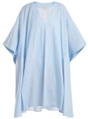 Fendi Striped Cotton Poplin Kaftan - Womens - Light Blue