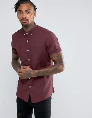 Asos Casual Slim Oxford Shirt With Stretch In Burgundy