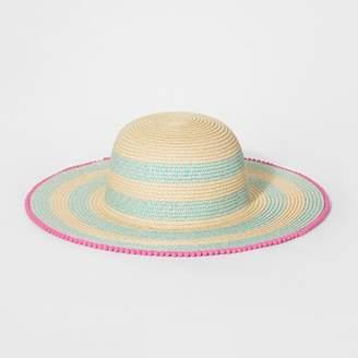 Cat & Jack Girls' Stripe Floppy Hat Aqua/Natural