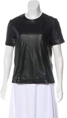 Anine Bing Leather Short Sleeve Top