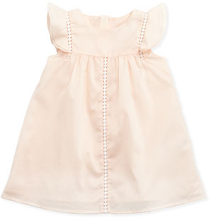 Chloé Woven Flutter-Sleeve Dress, Pale Pink, 3-18 months