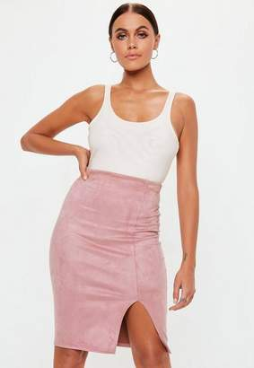 Missguided Rose Faux Suede Split Front Midi Skirt