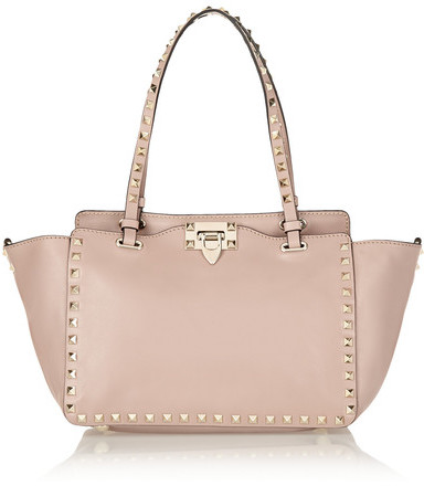 Valentino - The Rockstud Small Leather Trapeze Bag - Blush