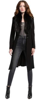Alice + Olivia Vance Flare Coat With Fur Collar
