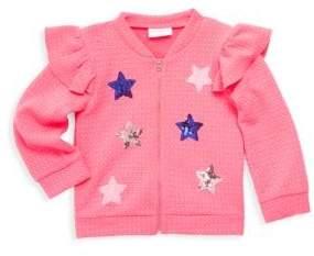 Baby Girl's Textured Star Sequin Jacket