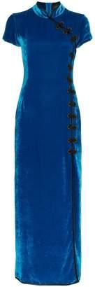 Suki De La Vali front slit velvet maxi dress