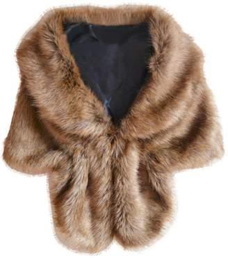 Kingfansion Winter Elegant Bridal Wedding Faux Fur Long Shawl Stole Wrap Shrug Scarf