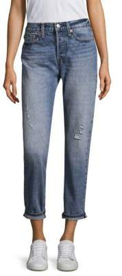Levi's Wedgie High Rise Icon Cropped Boy-Fit Selvedge Jeans
